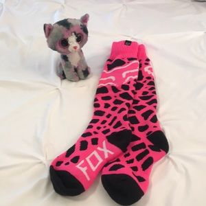 Women's FOX Pink Giraffe Moto Long Socks Pink OS